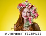 eyed redhead girl with bright... | Shutterstock . vector #582554188