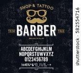 typeface. label. barber shop... | Shutterstock .eps vector #582554716