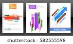 abstract arrows vector brochure ... | Shutterstock .eps vector #582555598