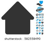 cabin icon with bonus passion... | Shutterstock .eps vector #582558490