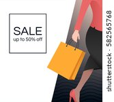 women with shopping bag. sale... | Shutterstock .eps vector #582565768