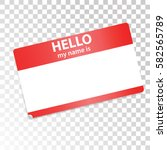 hello  my name is. red white... | Shutterstock .eps vector #582565789
