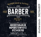 typeface. label. barber shop  ... | Shutterstock .eps vector #582566809