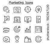 marketing icon set in thin line ... | Shutterstock .eps vector #582567130