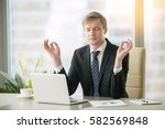 young calm businessman working... | Shutterstock . vector #582569848