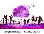 abstract nature with family... | Shutterstock .eps vector #582570070