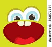 vector green funny monster face.... | Shutterstock .eps vector #582571984