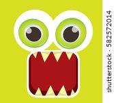 vector green funny monster face.... | Shutterstock .eps vector #582572014