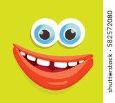 vector green funny monster face.... | Shutterstock .eps vector #582572080