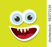 vector green funny monster face.... | Shutterstock .eps vector #582572134