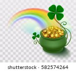 rainbow  green leaf lucky... | Shutterstock .eps vector #582574264
