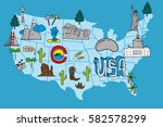 illustrated usa map   hand... | Shutterstock .eps vector #582578299