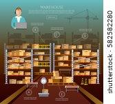 warehouse interior box on rack... | Shutterstock .eps vector #582582280