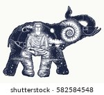 elephant tattoo art. symbol of... | Shutterstock .eps vector #582584548
