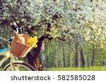 Wicker Basket With A Bouquet O...