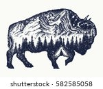 bison tattoo art. buffalo bull... | Shutterstock .eps vector #582585058