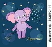 aquarius zodiac sign on night... | Shutterstock .eps vector #582592444