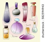 set of vector perfume fashion | Shutterstock .eps vector #582594943