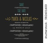 save the date. hand drawn line... | Shutterstock .eps vector #582601603