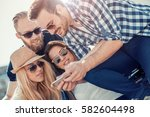 happy friendship concept with... | Shutterstock . vector #582604498