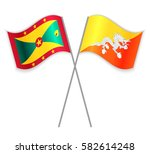 grenadian and bhutanese crossed ... | Shutterstock .eps vector #582614248