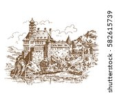 hand drawn old castle in... | Shutterstock .eps vector #582615739
