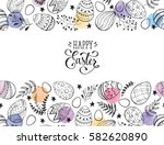 Stock vector easter eggs composition hand drawn black on white background decorative horizontal stripe from 582620890