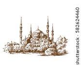 topkapi palace. hand drawn. | Shutterstock .eps vector #582624460
