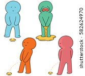 vector set of man peeing | Shutterstock .eps vector #582624970
