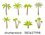 vector set of simple palm trees.... | Shutterstock .eps vector #582627598