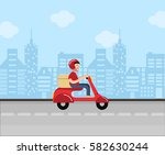 delivery man ride scooter... | Shutterstock .eps vector #582630244