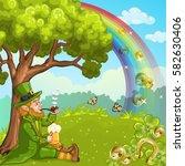 cute irish leprechaun relax... | Shutterstock .eps vector #582630406