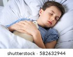 young caucasian boy is sick and ... | Shutterstock . vector #582632944