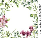 watercolor floral frame with... | Shutterstock . vector #582638200