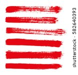 red vector strokes of paint on... | Shutterstock .eps vector #582640393