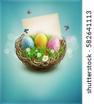 vintage easter eggs in a... | Shutterstock . vector #582641113