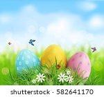background. easter eggs in... | Shutterstock . vector #582641170