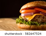 home made hamburger with beef ...   Shutterstock . vector #582647524