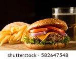 home made hamburger with beef ... | Shutterstock . vector #582647548