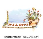 welcome banner with door and... | Shutterstock .eps vector #582648424