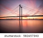 Long exposure of the Cable Bridge that connects Pasco and Kennewick in Washington State at sunrise