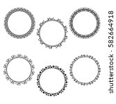 set of round frame with floral... | Shutterstock .eps vector #582664918