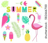 modern cute summer set  ice... | Shutterstock .eps vector #582666700