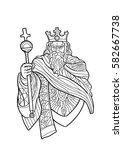 hand draw of tarot card... | Shutterstock .eps vector #582667738
