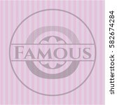 famous badge with pink... | Shutterstock .eps vector #582674284