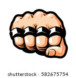 clenched fist  brass knuckles.... | Shutterstock .eps vector #582675754