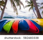 colorful kayaks on the tropical ... | Shutterstock . vector #582683338