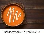 homemade fresh cream of tomato... | Shutterstock . vector #582684610