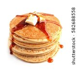 pancakes with butter and maple...   Shutterstock . vector #582688558