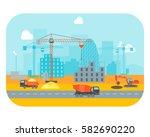 cartoon construction building... | Shutterstock .eps vector #582690220